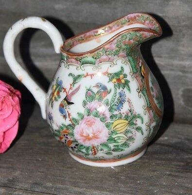 Antique Chinese Export Famille Rose Medallion Enameled Cream Pitcher Butterfly