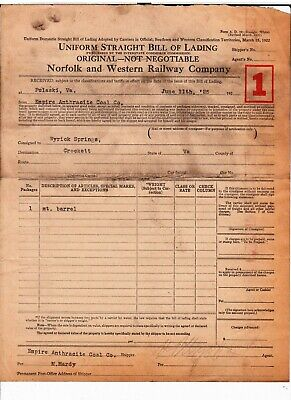1925 Norfolk And Western Railway Co Wyrick Spring Letterhead Crockett Va