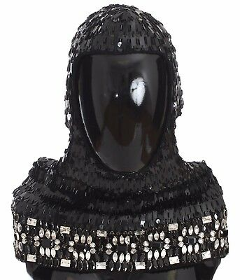 9ec12f4ea3741 NEW  2100 DOLCE   GABBANA Hood Scarf Hat Crystal Sequined Black Knitted Wool