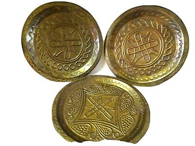 "3-9"" Decorative Hammered Brass/Metal Wall Hanging Plates-Marked Kan-Textured-"