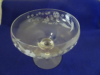 Crystal Glass Footed Compote/Bowl-Etched Flowers-Pedestal-Princess House?