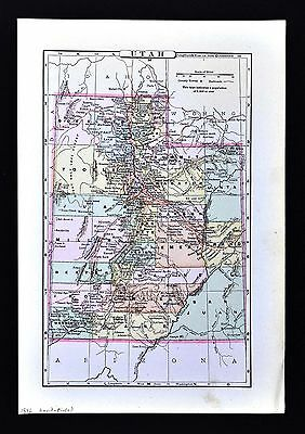 1896 Johnson Map - Utah - Salt Lake City Provo Ogden Brigham Nephi Logan Heber