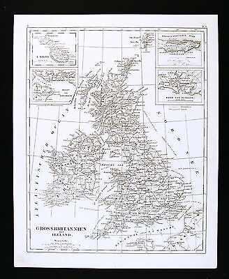 1849 Bilder Atlas Map - Great Britain & Ireland - England Wales Scotland London