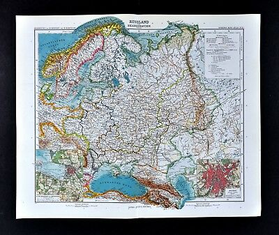 1911 Stieler Map Sweden Norway Finland Russia Poland St. Petersburg Moscow Plan