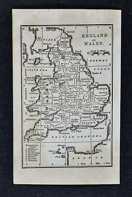 1830 Nathan Hale Map - England & Wales - London Liverpool Cornwall Dover Bristol