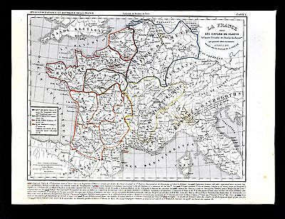 1849 Houze Map France Clovis 511-561 Paris Soisson Bourgogne Orleans Metz