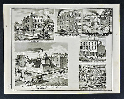 1876 Indiana Town Views Paul Reising Brewery New Albany & Victorian Architecture