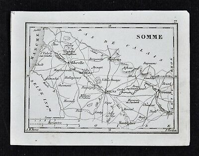 1833 Perrot Map - Somme - Amiens Abbeville Peronne Doulens Montdidier - France