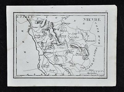 1833 Perrot Map - Nievre - Nevers Chateau Chinon Clamecy Cosne Moulins - France