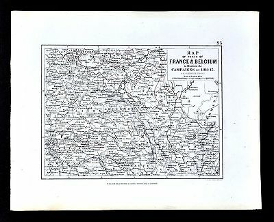 1855 Johnston Military Map - Napoleon France Belgium Campaigns Battles 1814-15