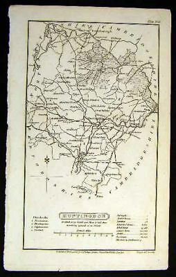 1824 Whittaker Map Huntingdon County England UK Antique