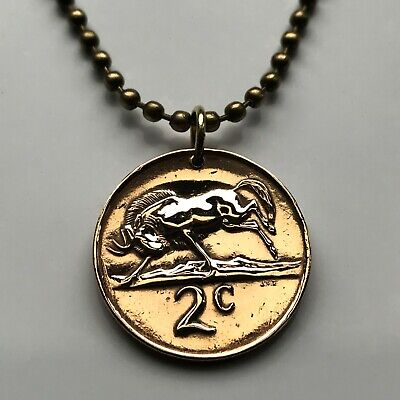 1965 to 1981 South Africa 2 Cent coin pendant African wildebeest antelope 000545