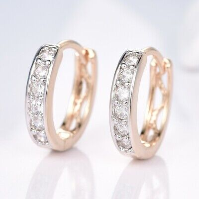 Promise Women Wedding Charms Sapphire Crystal Gold Filled Hoop Earrings Jewelry