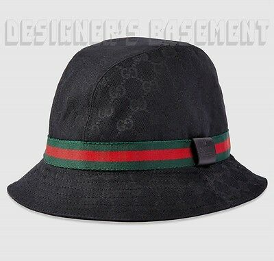 a3352b84e0aa2 GUCCI black-on-black GG canvas M FEDORA trademark Logo WEB ribbon hat NWT