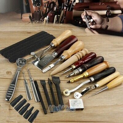 Pro Leather Craft Tools Punch Kit Stitching Carving Sewing Working Skiving Knife