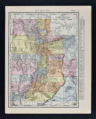 1911 McNally Index Map - Utah - Salt Lake City Ogden Logan Provo Moab Castledale