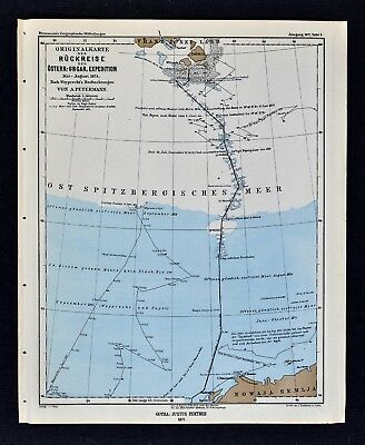 1877 Petermann Map Arctic Exploration Franz Josef Land to Novaya Zemlya Russia