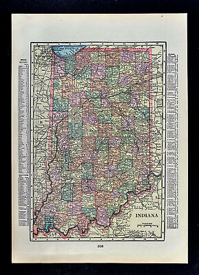 c 1900 George Cram Map Indiana Indianapolis Fort Wayne South Bend Bloomfield IN
