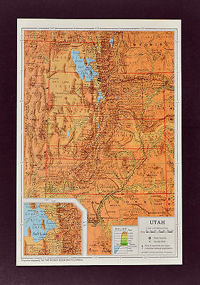 1958 McNally Encyclopedia Map - Utah - Salt Lake City Brigham Ogden Provo Moab