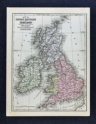 1876 Mitchell Map Great Britain & Ireland England Scotland Wales London Dublin