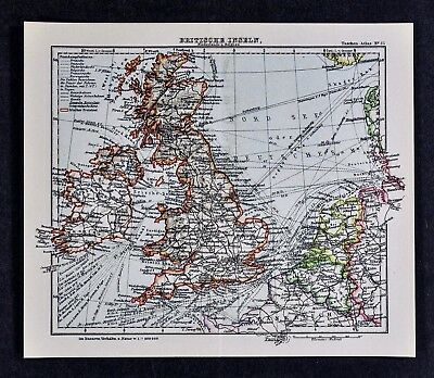 c1925 Taschen Atlas Map British Isles England Scotland Ireland London Dublin UK