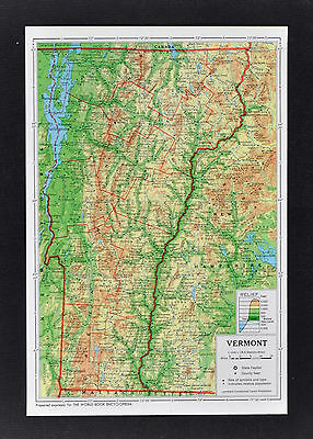 1958 McNally Encyclopedia Map Vermont Montpelier Rutland St. Johnsbury Mt. Gore
