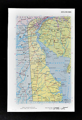 1968 McNally Map Delaware Wilmington Dover Milford Cape Henlopen May New Jersey
