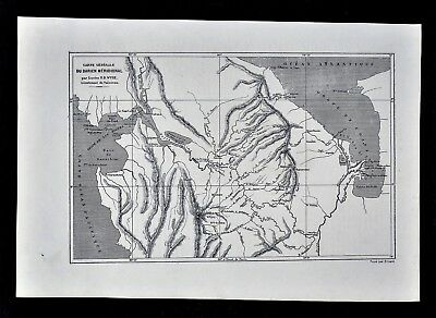 1880 Tour du Monde Antique Map - Darien Gap Panama South - Gulf San Miguel Uraba