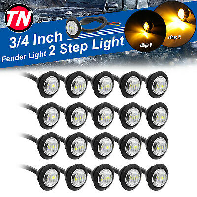 """20 X Mini Truck Trailer 3/4"""" Clear Amber Round 3 LED Marker Clearance Light 12V"""