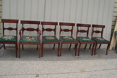 59629    Needlepoint Antique Mahogany Dining Chair s Van Sciver furniture