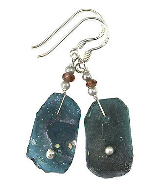 Ancient Roman Glass Earrings Green Opalescent Genuine Antique Sterling Silver b