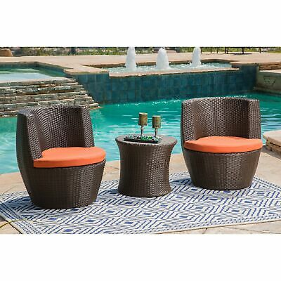 Groovy Abbyson Newport Outdoor Wicker Patio Set In Grey 3 Piece Caraccident5 Cool Chair Designs And Ideas Caraccident5Info