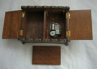 Antique Wooden Hand Crafted Lugano Italian Wind Up Cylinder Music Box Jewellery
