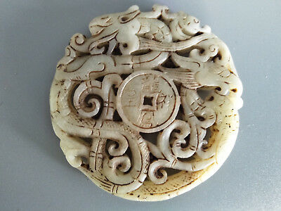 Chinese Exquisite Hand-carved old jade dragon BI  pendants B13-14