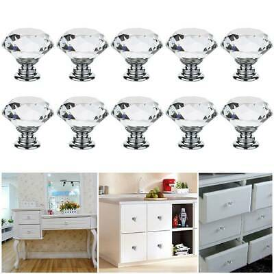 Clear Crystal Diamond Glass Door Knobs Cupboard Drawer Furniture Cabinet Handle