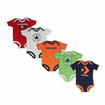 Girls Converse Baby 5 Pack Bodysuits in Multi colour - 6-9m