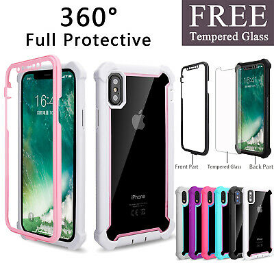 For iPhone 6s 7 8 Plus XS 360 Full Protective Shockproof Case Cover + Free Glass