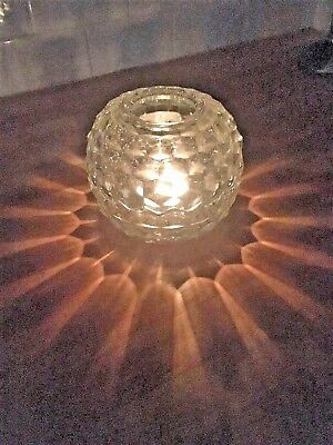 """5"""" CRYSTAL FAIRY LAMP Clear Glass Globe Candle Holder Glimmer Light, Excellent"""