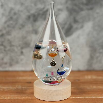 Large Tear Drop Galileo Thermometer Wood Base 20cm
