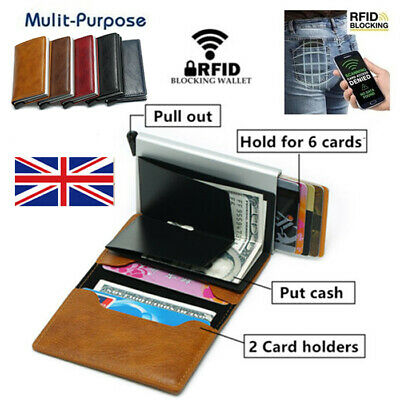 Leather Credit Card Holder Metal Purse Antitheft Men Wallet RFID Blocking Pop-up