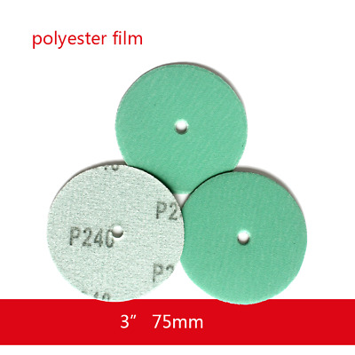 """3"""" 75mm Wet and Dry Sandpaper With Hole Green Film Sanding Disc 240# Hook & Loop"""