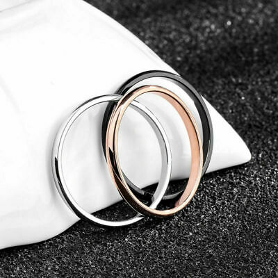 Stainless 2mm Thin Stackable Ring Steel Plain Band for Women Girl Size 3-10