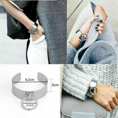 Bracelet Women Girl Stainless Steel Silver Round Shaped Wide Cuff Opening Bangle