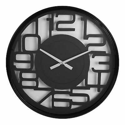 Modern Black Metal Round Wall Clock Cut Out Arabic Dial 60cm