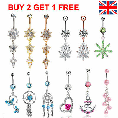 UK Belly Bars New Belly Bar Crystal Dangly Reverse Button Rings Top Drop Navel