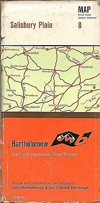 Bartholomews half-inch Map No.8 SALISBURY PLAIN - Cloth -1962