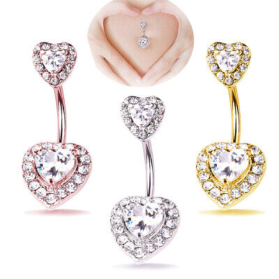 UK Heart CZ Belly Button Bar Barbell Drop Dangle Body Piercing Navel Ring Bars