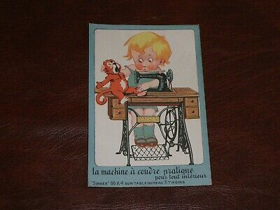 Original French Advertising Poster Postcard - Children, Singer Sewing Machines.