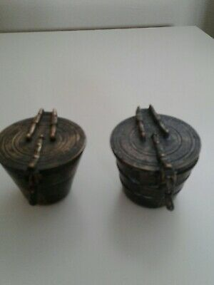 Two sets of Early Victorian Apothecary Nesting Measuring Cups And Weight