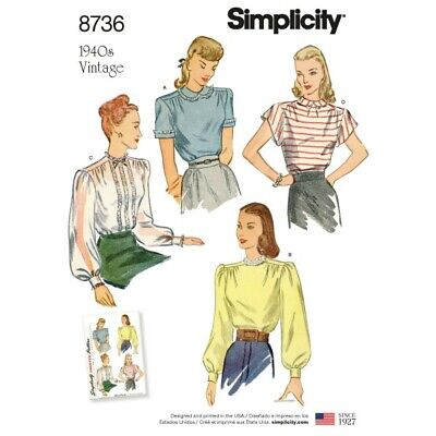 Simplicity Sewing Pattern 8736 Women's Vintage Blouses Shirts Sewing